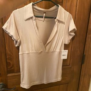 NWT Free People Collared V Neck Stretch top M